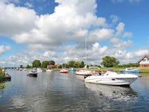 Ships in river Minija , Lithuania Royalty Free Stock Photos