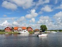 Ships in river Minija , Lithuania Stock Photo