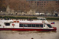 The ships in river thames with windows. And tourists royalty free stock photography