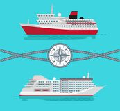 Ships and Rope with Compass Vector Illustration royalty free illustration