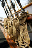 Ships rope on the deck Stock Photo