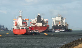 Ships in Rotterdam Harbor Stock Images