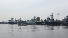 The ships of the Russian Navy in Kronstadt Harbor, cloud july afternoon. Russia stock video