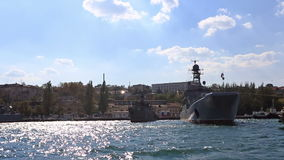 Ships of the Russian navy stand on the anchor parking stock footage