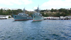 Ships of Russian navy stand on  anchor parking in Southern bay stock video footage