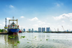Ships on the Saigon River in Ho Chi Minh city, Vietnam Stock Photo