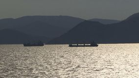 Ships sailing out of Athens Greece stock video footage