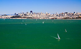 Ships sailing in San Francisco bay Royalty Free Stock Photography