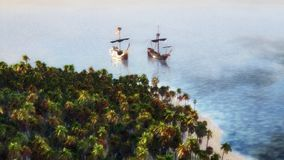 Ships On The Sea. Clipper ships on the sea near a tropical island Stock Photography