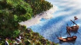 Ships On The Sea stock illustration