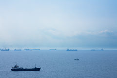 Ships in a sea. With blue sky. Anapa, Russia stock photos