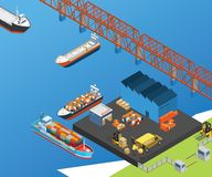 Ships in the Sea traveling across water to deliver the transported goods isometric artwork royalty free illustration