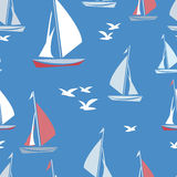 Ships and seagulls. Seamless pattern with ships and seagulls on blue background. Vector illustration Royalty Free Stock Photos