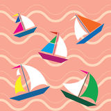 Ships seamless. Vector pattern with waves and ships Stock Images