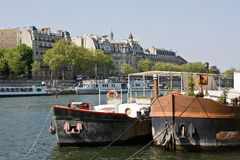 Ships on the Seine, Paris Stock Photo