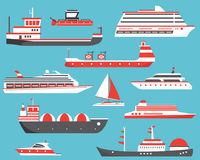 Ships Set. Oil Tanker, Yacht, Bulk Carrier, Gas Tanker and Passe Royalty Free Stock Images