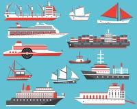 Ships Set. Passenger Cruise Ship, Yacht, Bulk Carrier and Sailbo Royalty Free Stock Photos