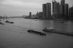 Ships. On the YangPu river Stock Photo