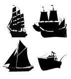 Ships silhouette. Illustration of old sailing ships black silhouettes on white Royalty Free Stock Photo