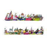 Ships, sketch for your design Royalty Free Stock Images
