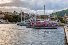 Ships in Skiathos harbor. The port on the Greek island of Skiathos at sunset, September 2018 stock images