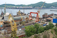Ships on slipway. Nakhodka Shipyard Stock Photography