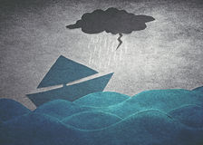 Ships in storm. Ships into the storm (retro paper style royalty free stock images