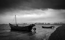 Ships and stormy waters. Two ships in stormy waters Stock Images