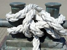 Ships strong white rope, Lithuania stock photography