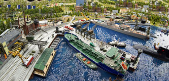 Ships and a submarine in dry dock at the naval base Royalty Free Stock Photo