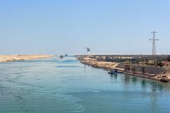 Ships in the Suez Canal Stock Photography