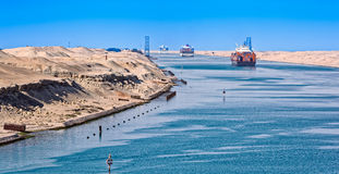 Ships in the Suez Canal Royalty Free Stock Photography