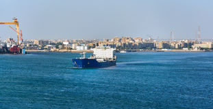 Ships in the Suez Canal Royalty Free Stock Images