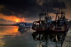 Ships at sunset Royalty Free Stock Photography
