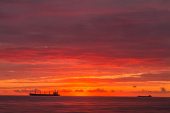 Ships at sunset, the defocused image Stock Photos