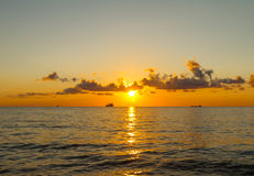 Ships at sunset, the defocused image Royalty Free Stock Photos