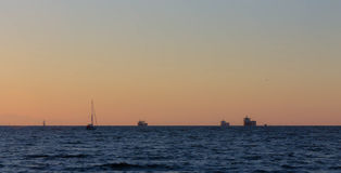 Ships at Sunset Stock Photography