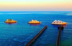 Ships at sunset on the parking lot of the reef. Windless weather Royalty Free Stock Photography