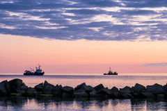 Ships and sunset Royalty Free Stock Image