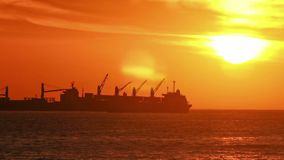 Ships at Sunset, Timelapse. Cargo Ships at Sunset Paning, Chile stock video footage