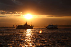 Ships at sunset Royalty Free Stock Photo