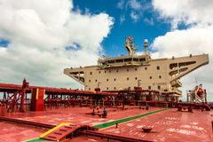 Ships superstructure. Tanker superstructure on a blue sky background Stock Photography
