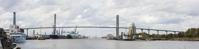 Ships and Talmadge Bridge, Savannah Stock Photo
