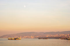 Ships (tankers) in twilight. Tankers in twilight, Belgrade, Serbia Royalty Free Stock Photo