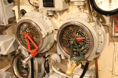 Ships telegraph. In the engine room of an old ship Royalty Free Stock Photos