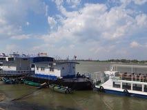 Ships in Tulcea harbor, Danube Delta, Romania. Tulcea harbor, Danube Delta, Romania royalty free stock photography