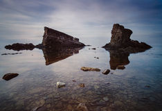 The Ships. The Ships are two rock formation that seems like two ships. They are located just outside Sinemoretc Royalty Free Stock Photography