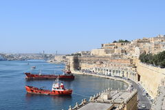 Ships and Valletta. Ships near the Valletta port Stock Photography