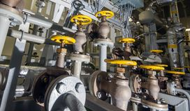 Ships valves, main engine Stock Photo
