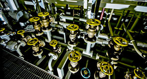 Ships valves, main engine - engineering interior. Royalty Free Stock Image